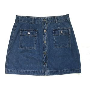 GAP Blue Denim Button Up Skirt with Pockets